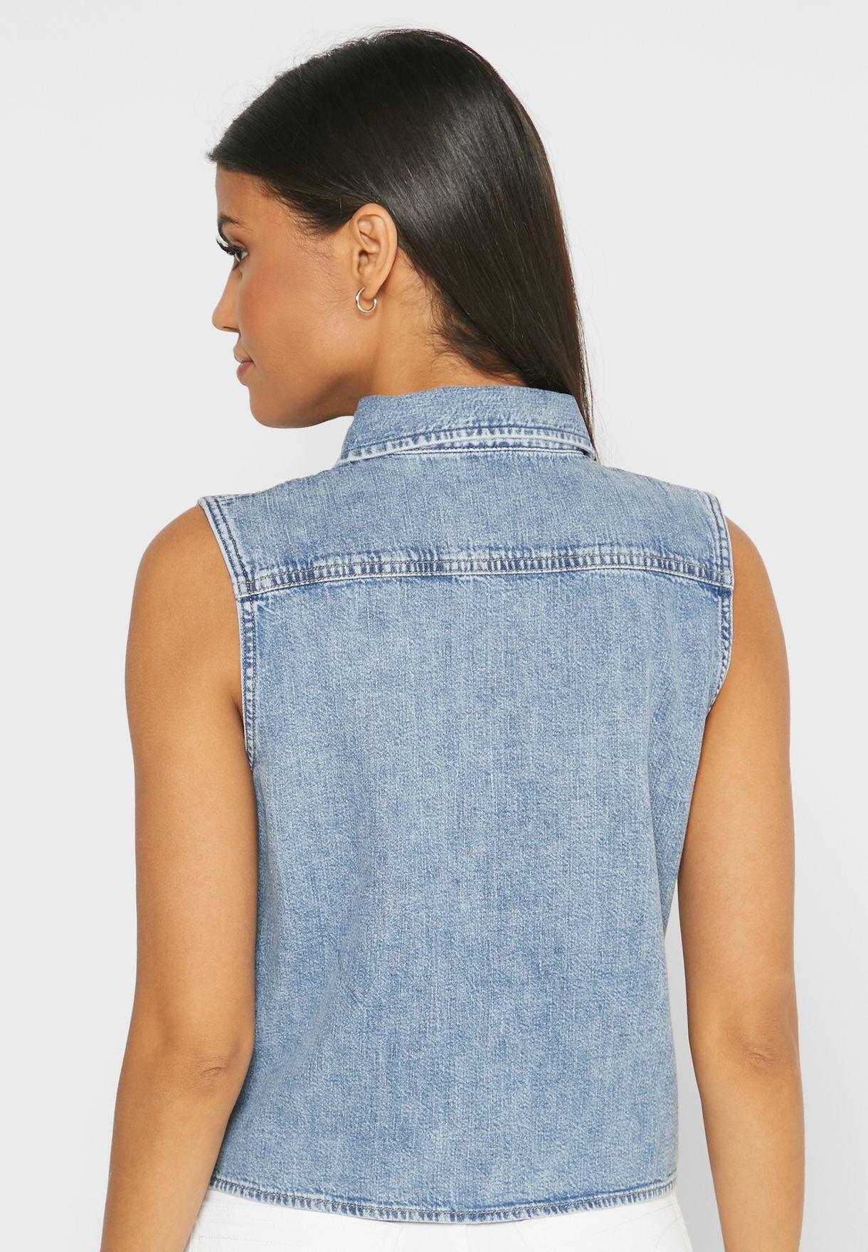 قميص جينز بياقة كلاسيكية