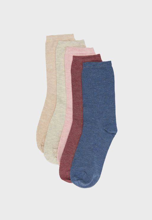 5 Pack Embroidered Socks