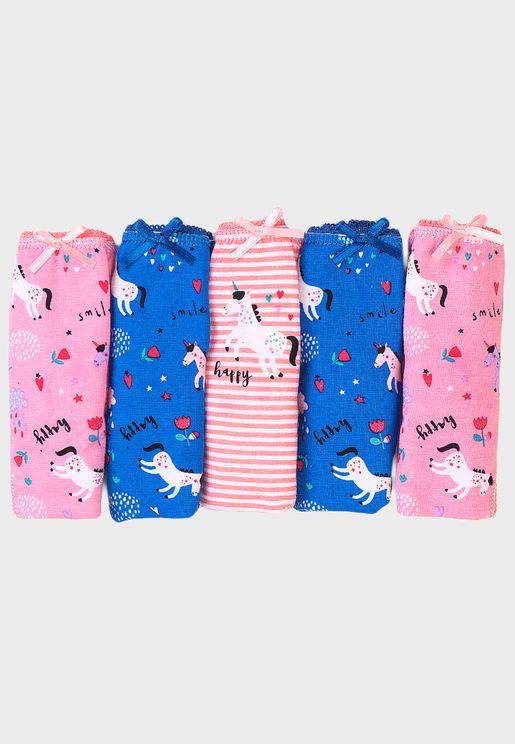 Kids 5 Pack Unicorn Knickers