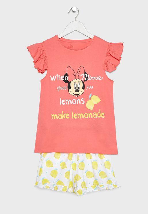 Kids Minnie Top + Printed Pyjama Set