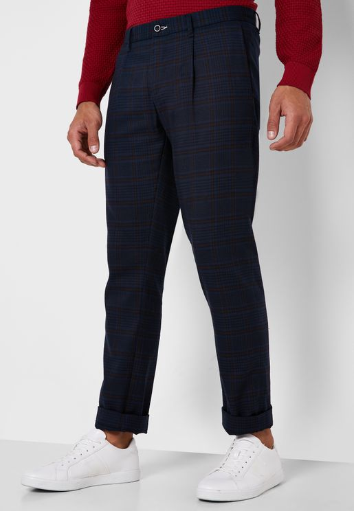 Checked Slim Fit Trousers
