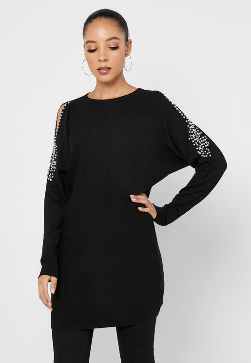Pearl Detail Cold Shoulder Sweater