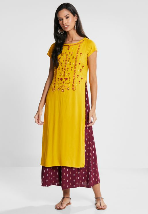 Yellow Maroon Embroidered Double Layered Tunic