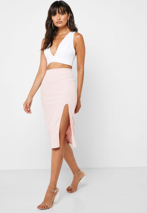 Side Slit Ribbed Skirt