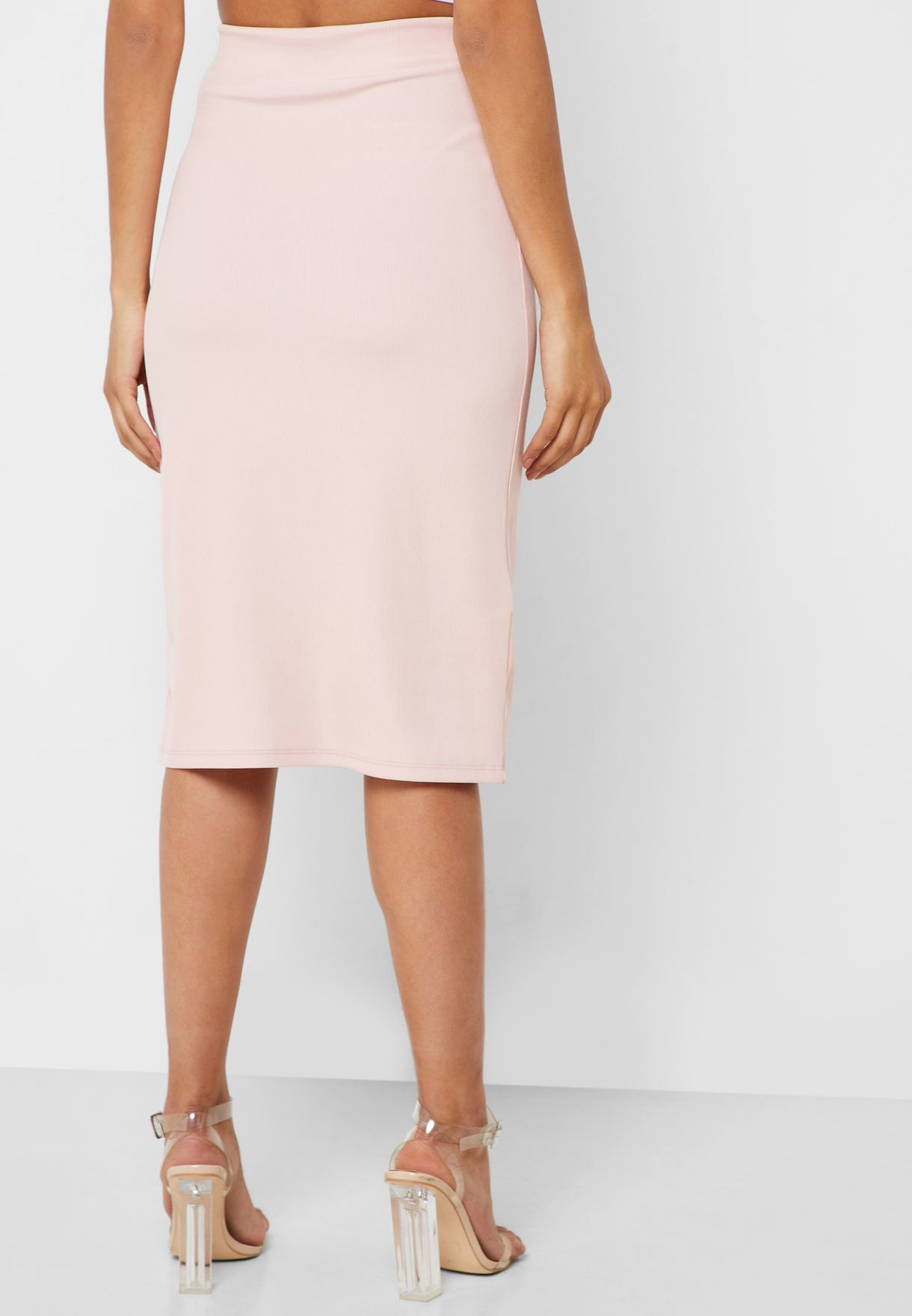 Side Slit Ribbed Skirt