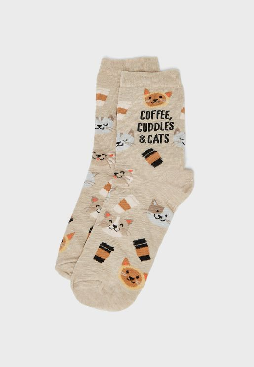Coffee Cuddles And Cats Socks