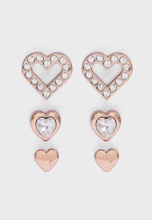 Laaria Heart Trio Earrings Set