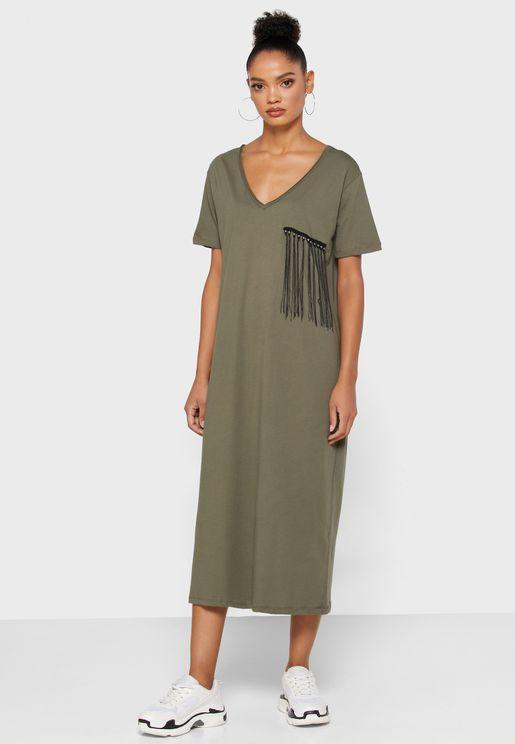 Detailed Fringed Chest T-Shirt Dress