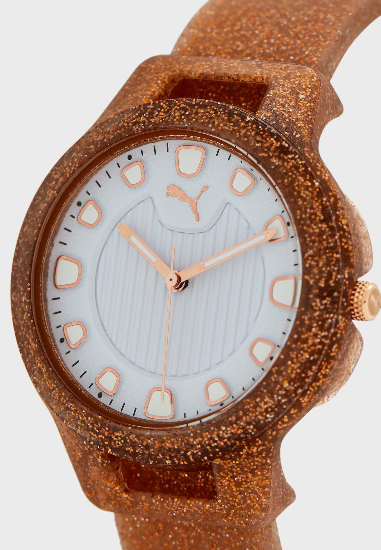 ساعة لامعة بحزام من السيليكون
