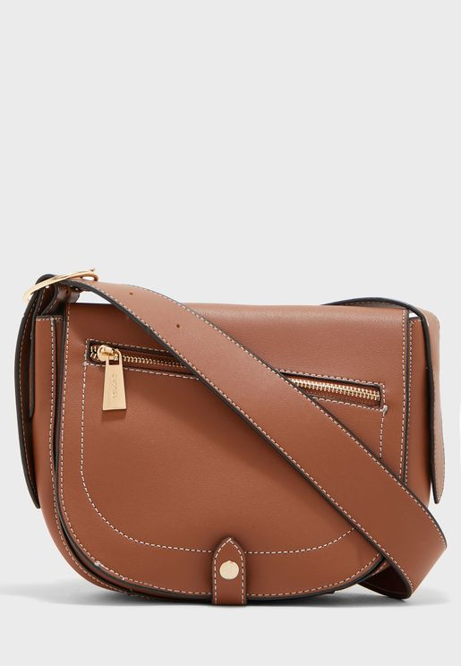 Front Zipped Flap Over Crossbody