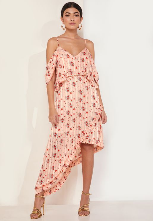 Fern Floral Print Cold Should Midi Dress