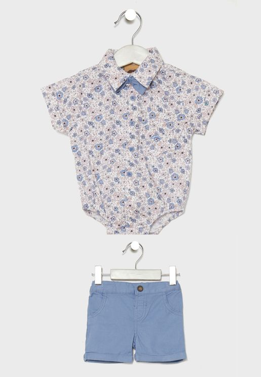 Infant Printed Shirt + Shorts Set