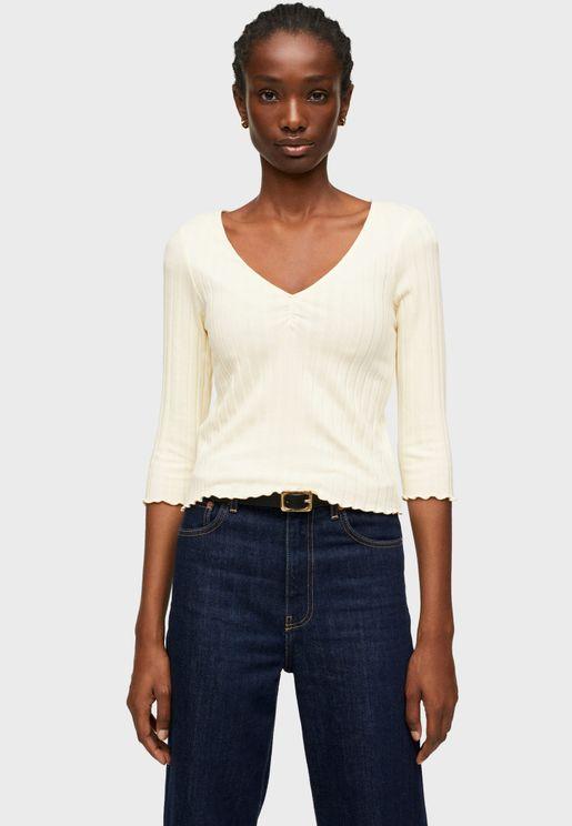 V-Neck Knitted T-Shirt