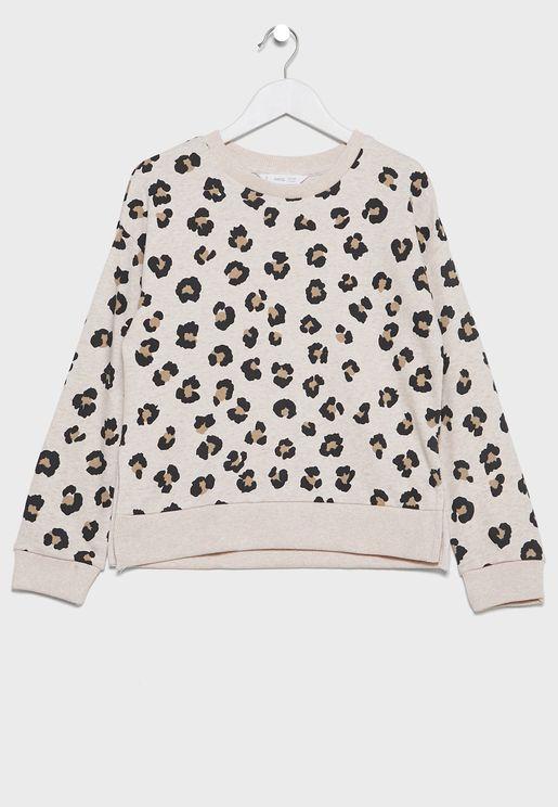 Kids Leopard Print Sweatshirt