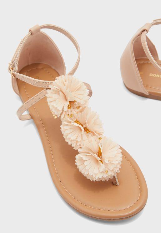 Fleurs Corsage Flat Sandal