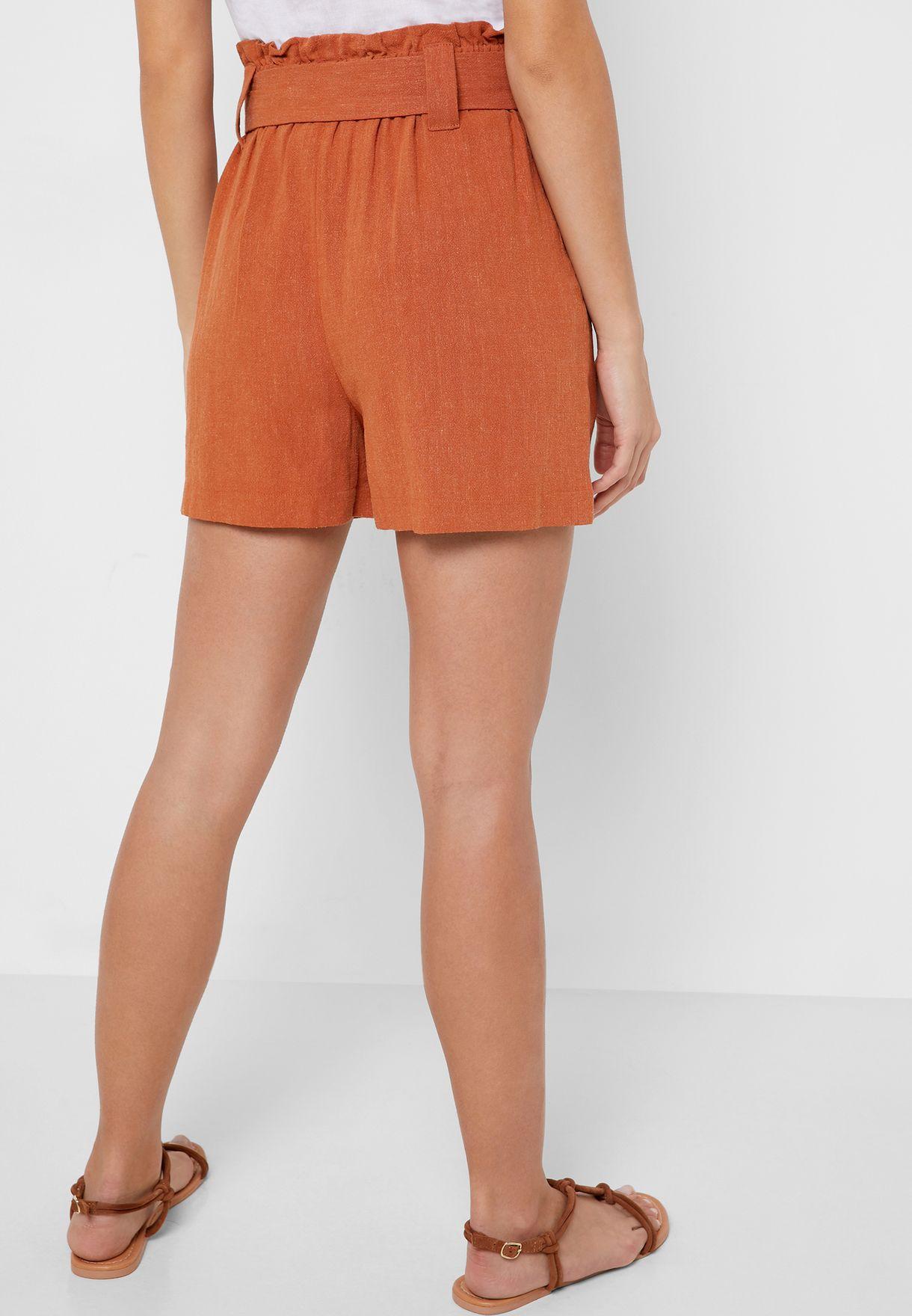 Belted High Waist Shorts