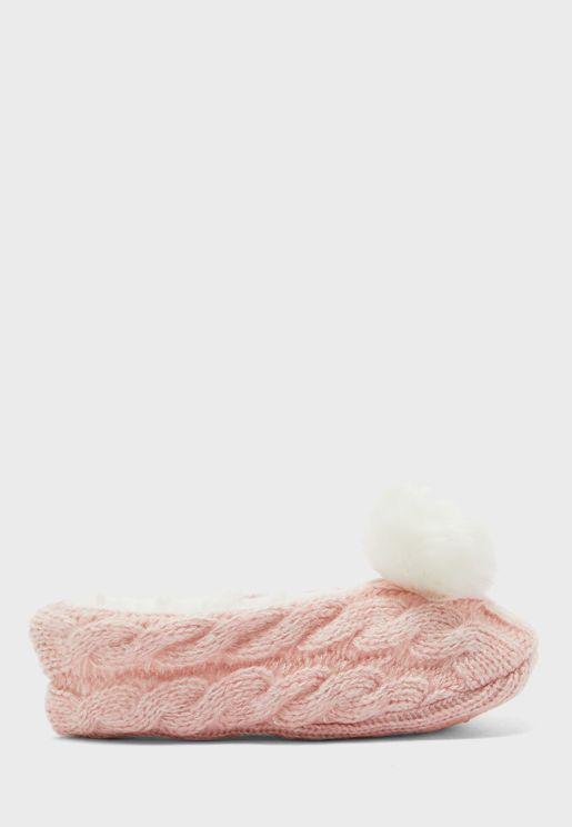 Pom Pom Slipper Socks