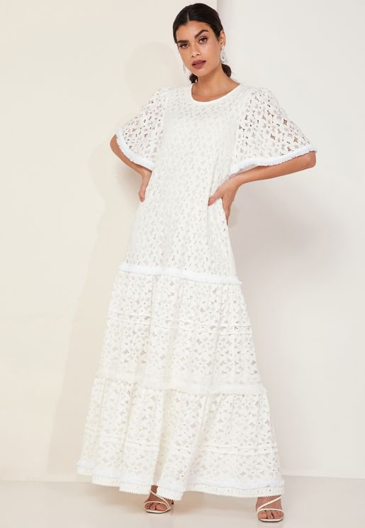 Seas The Day Lace Tiered Maxi Dress