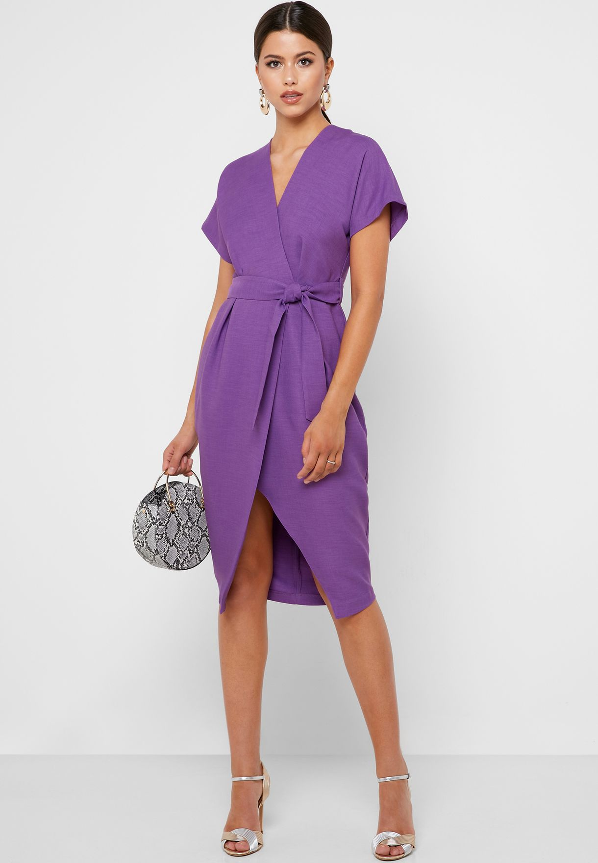 Wide Sleeve Wrap Dress