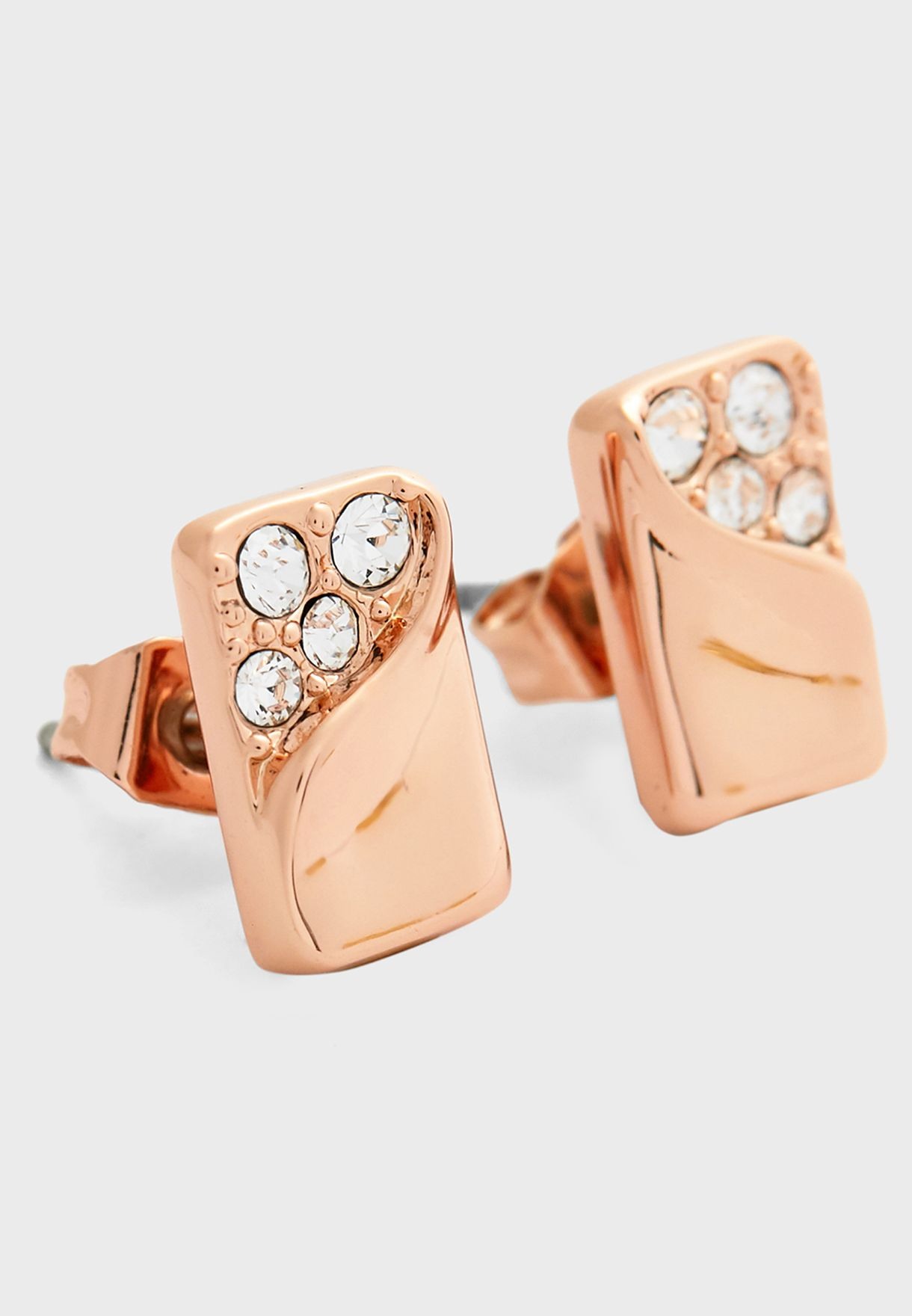 Crystal Bar Stud Earrings
