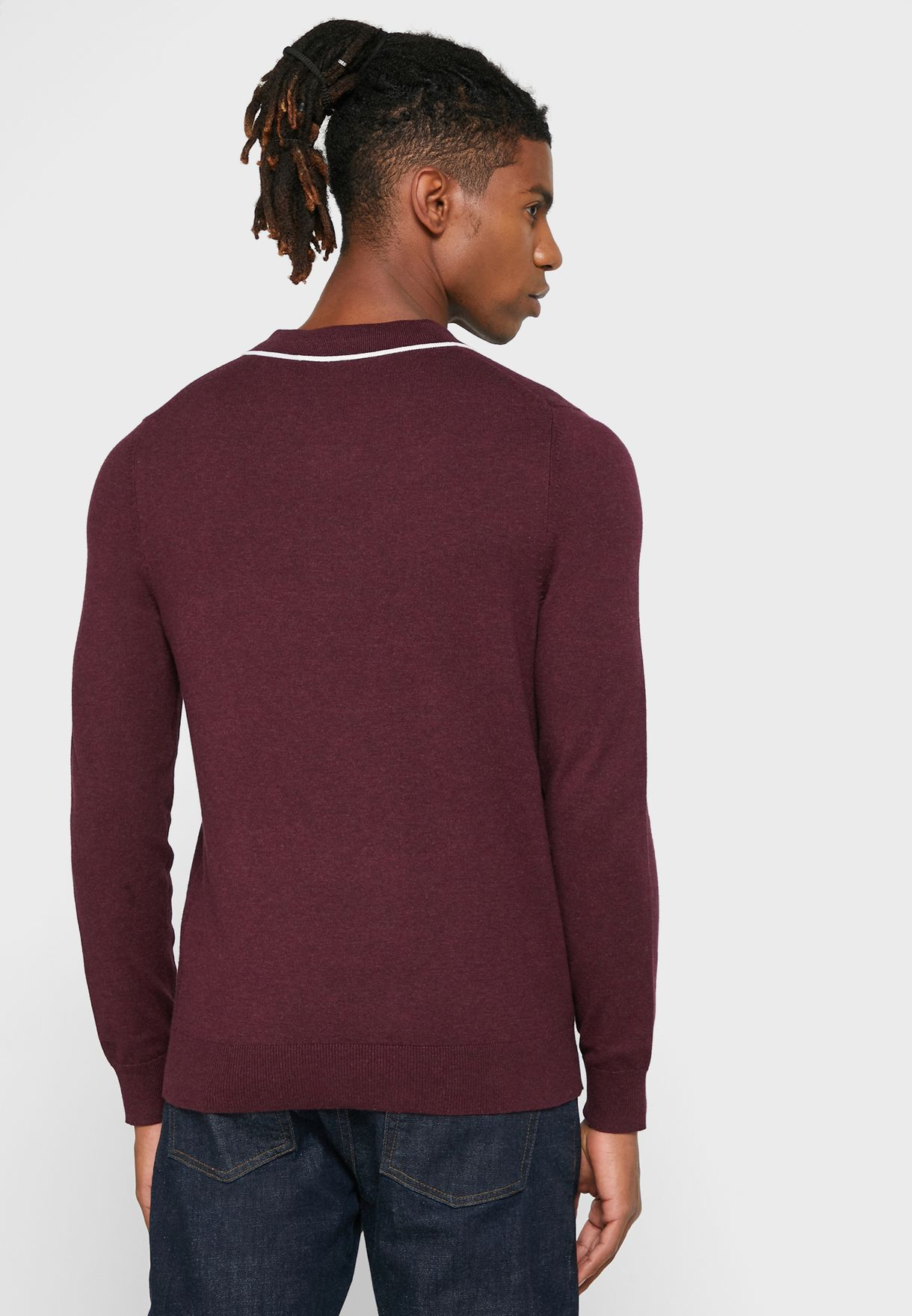 Textured Tipped Polo Sweater