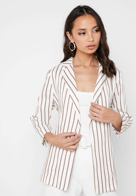 Tie Waist Striped Blazer