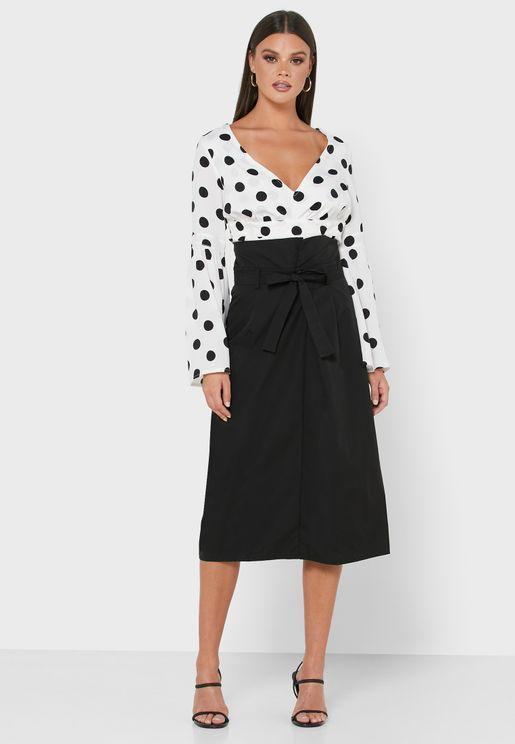 Detailed Self Tie Waist Midi Skirt