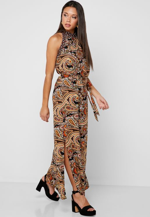 Halter Neck Side Split Paisley Print Dress