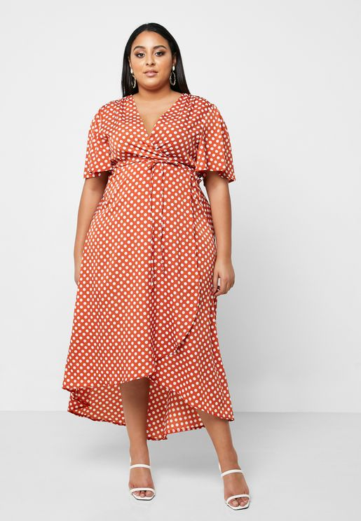 Polka Dot High Low Wrap Dress