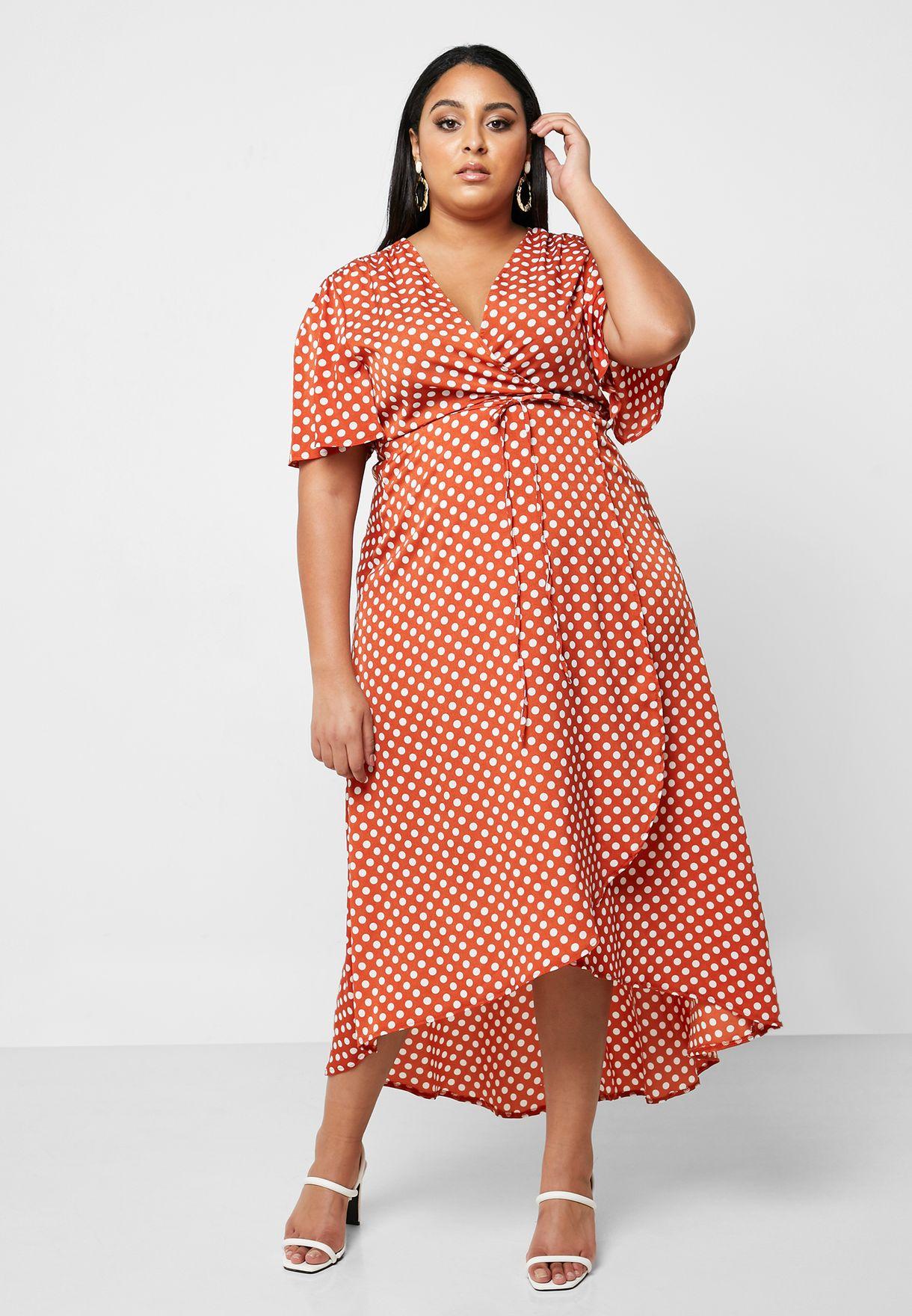 Polka Dot High Low Wrap Dress