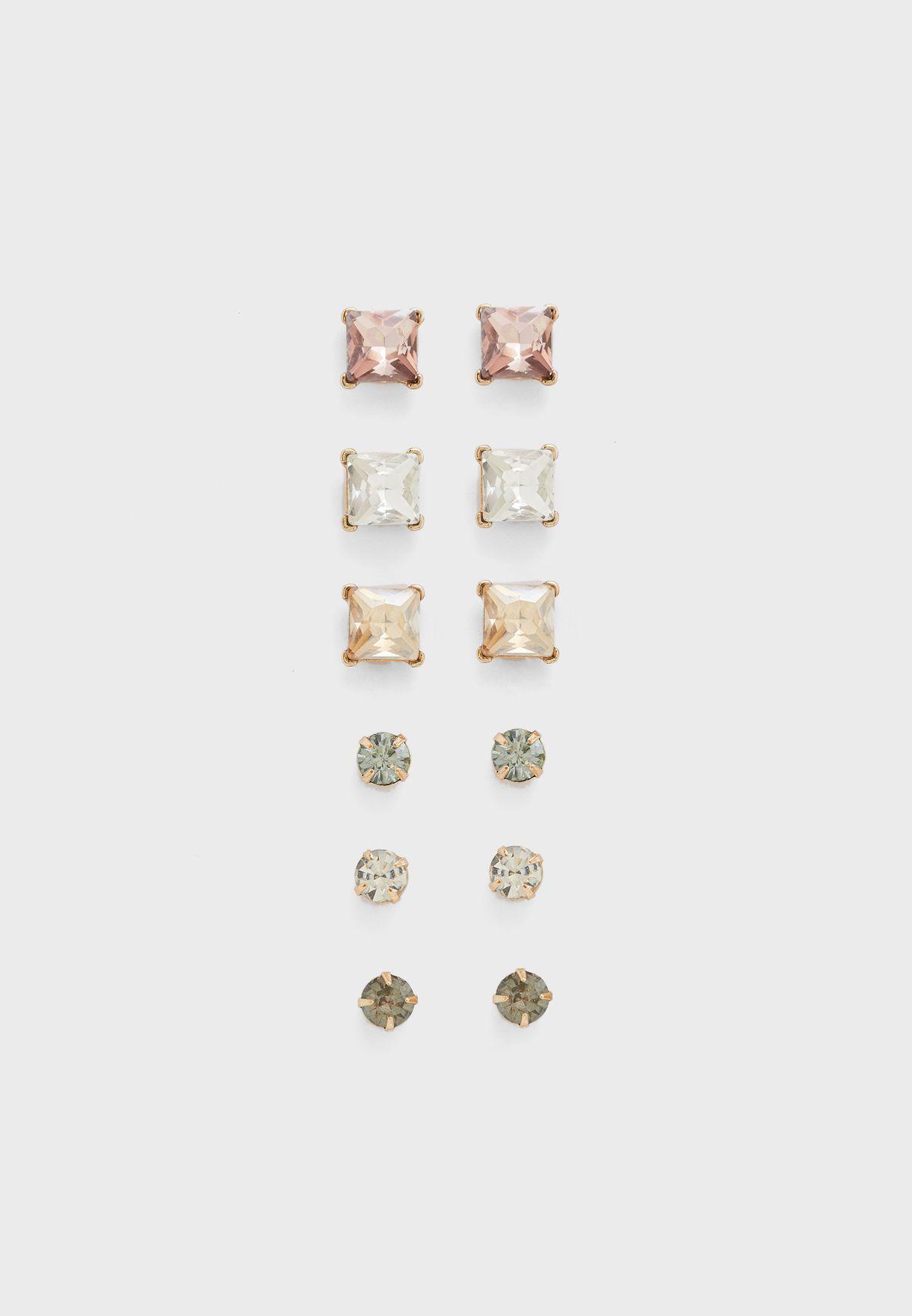 مجموعة من 6 ازواج من الاقراط الدبوسية