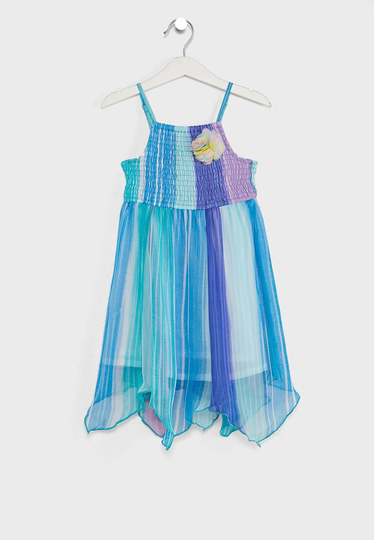 Colourblock Sheer Overlay Dress
