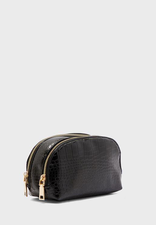 Faux Croc D Shape Cosmetic Bag