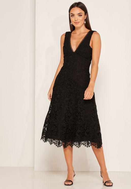 Barbara Lace Detail Plunge Dress