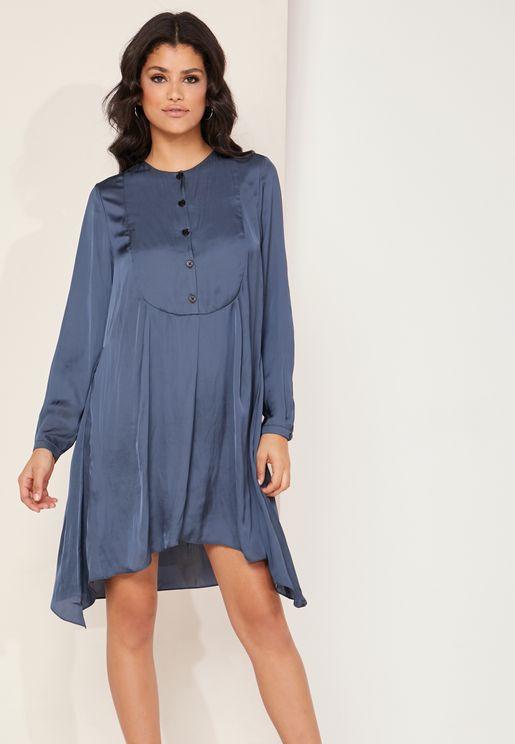 Rheal Asymmetric Satin Dress