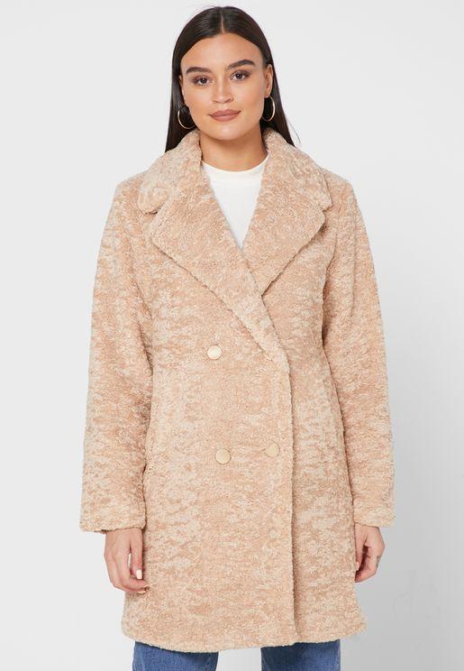 Longline Faux Fur Double Breasted Jacket