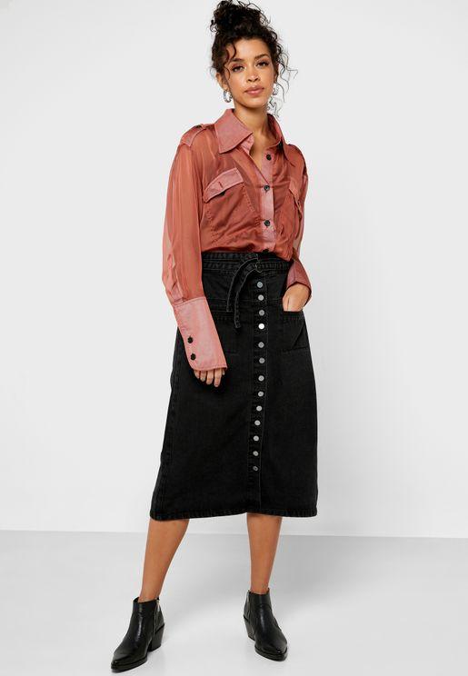 Denim Button Down Midi Skirt