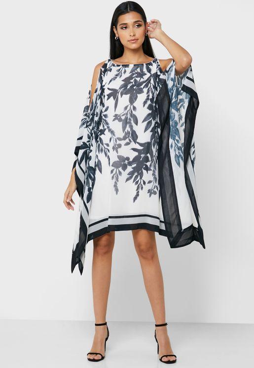Asymmetric Split Sleeve Printed Dress