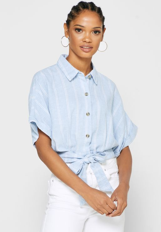 Striped Front Knot Shirt