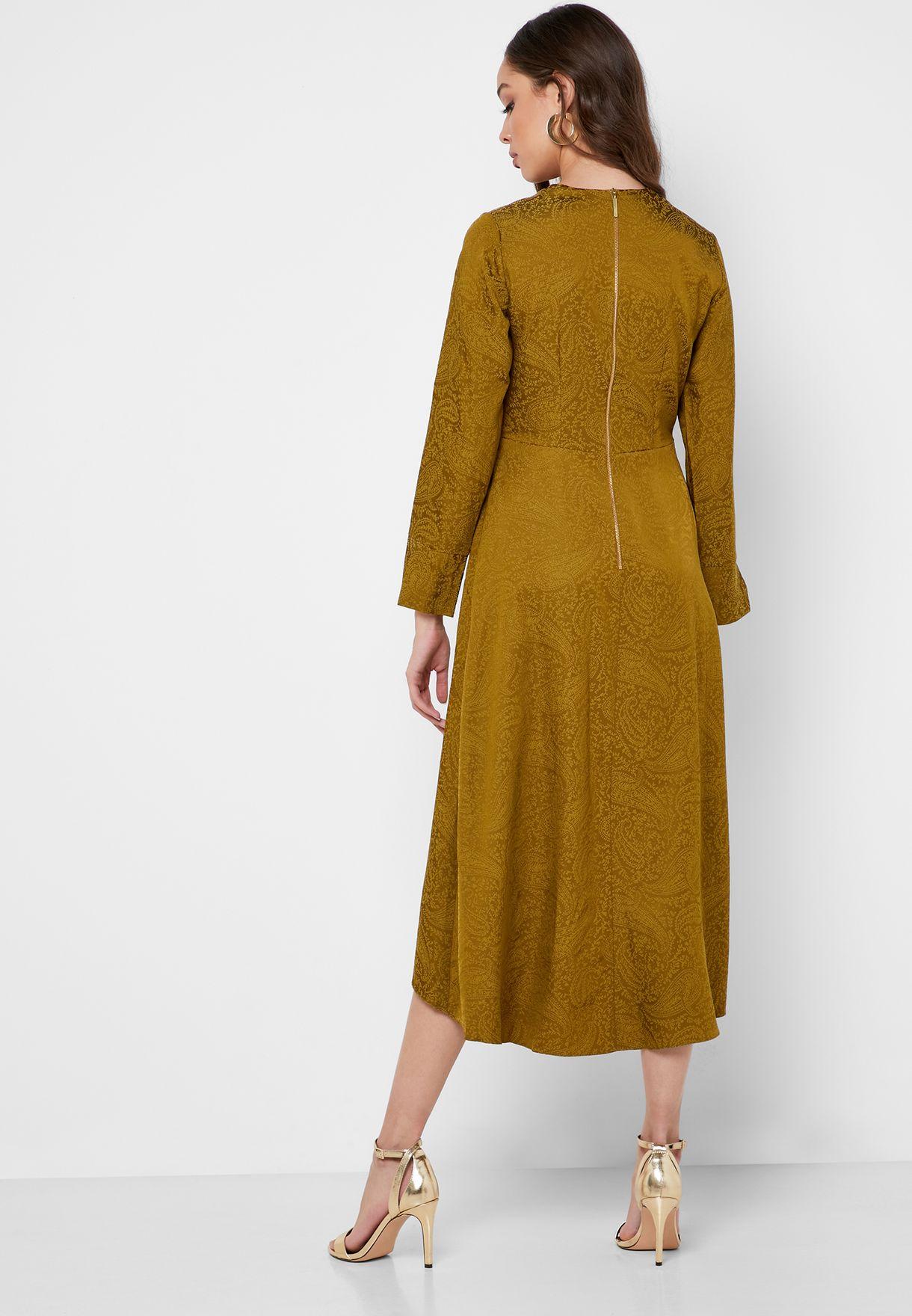 High Low Slit Sleeve Jacquard Dress