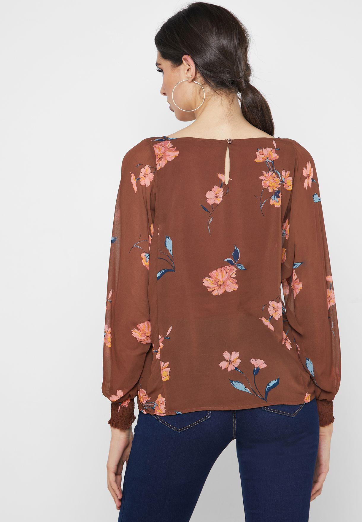 Floral Print Shirred Cuff Top