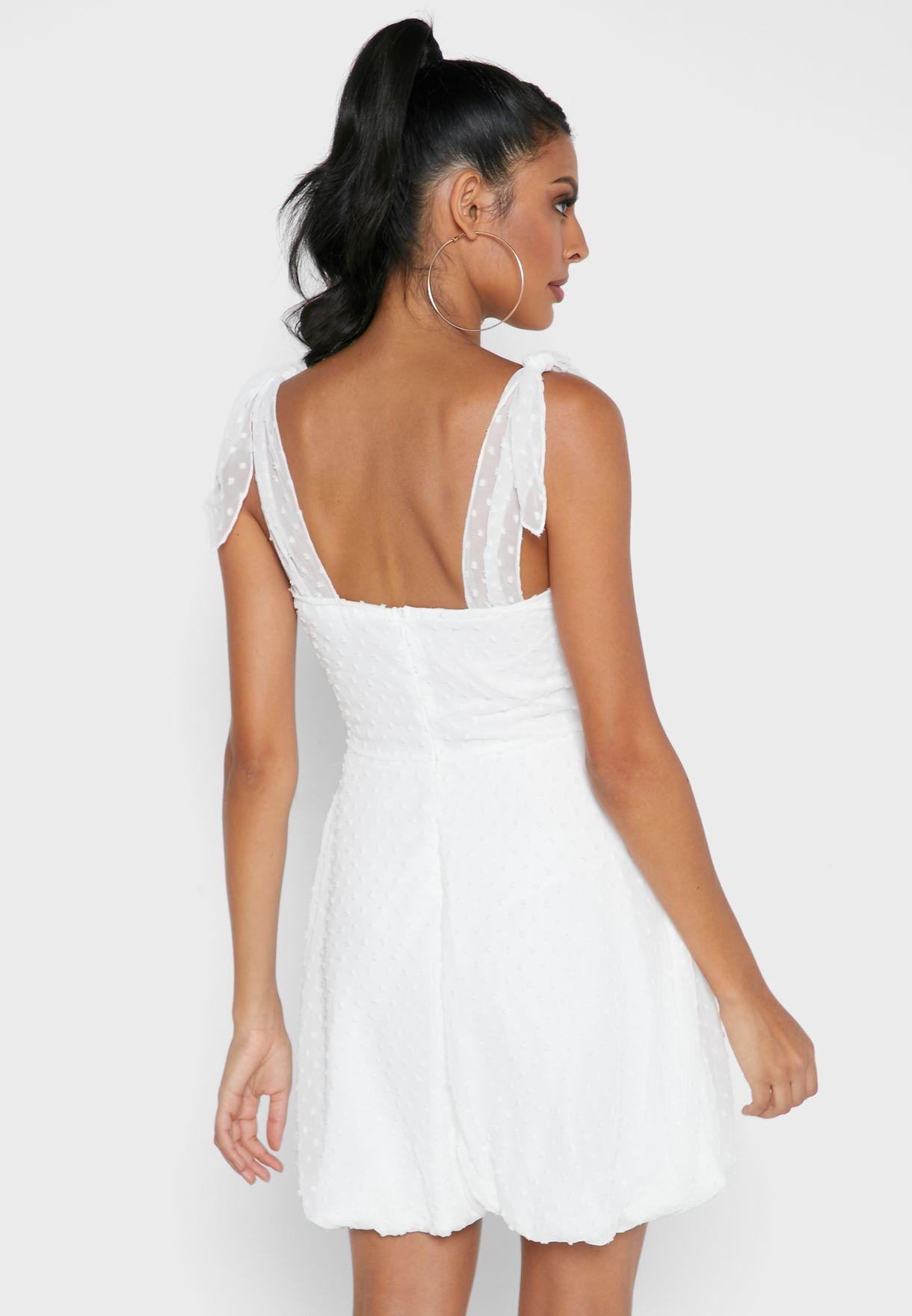 Front Knot Textured Dress