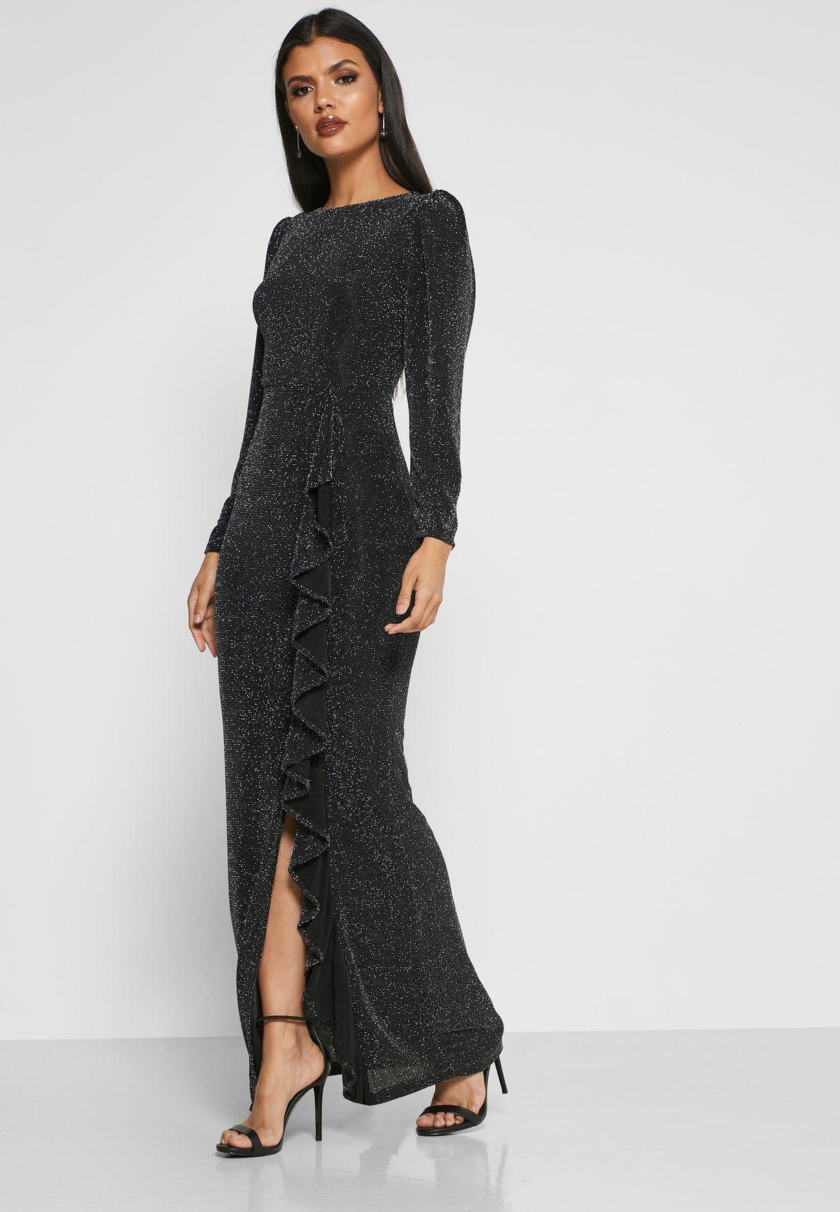 فستان ماكسي مزين بالكشكش