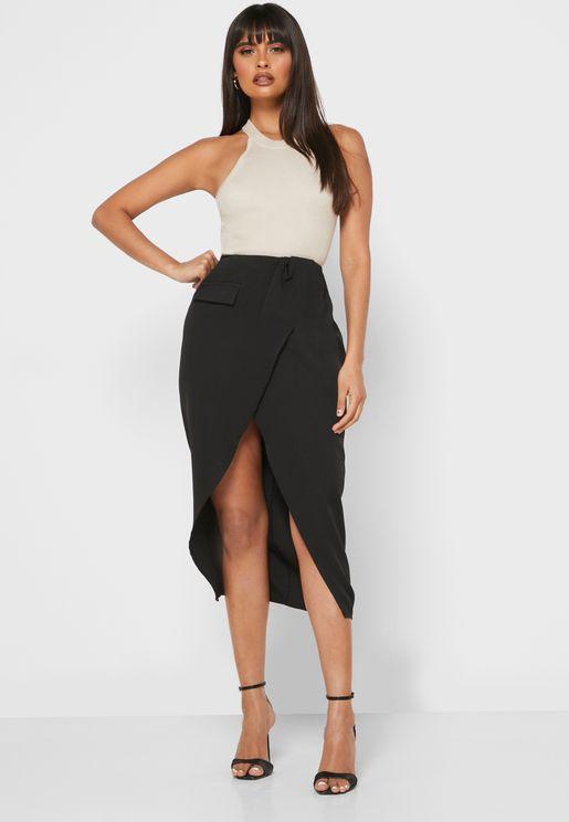 Wrap Front Detail Waist Midi Skirt