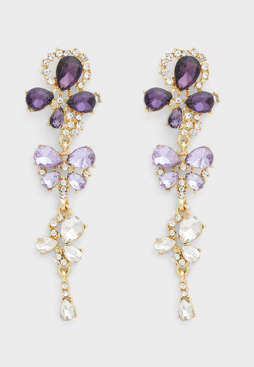 Jewelled Butterfly And Flower Drop Earrings