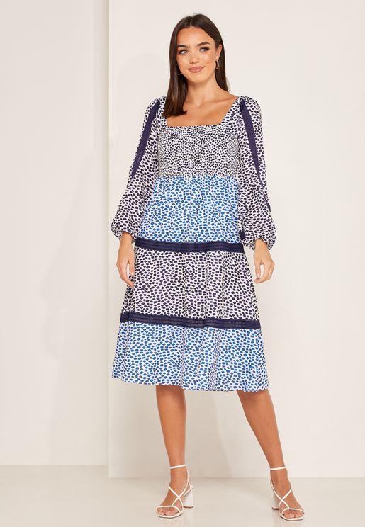 Tessie Animal Print Square Neck Dress