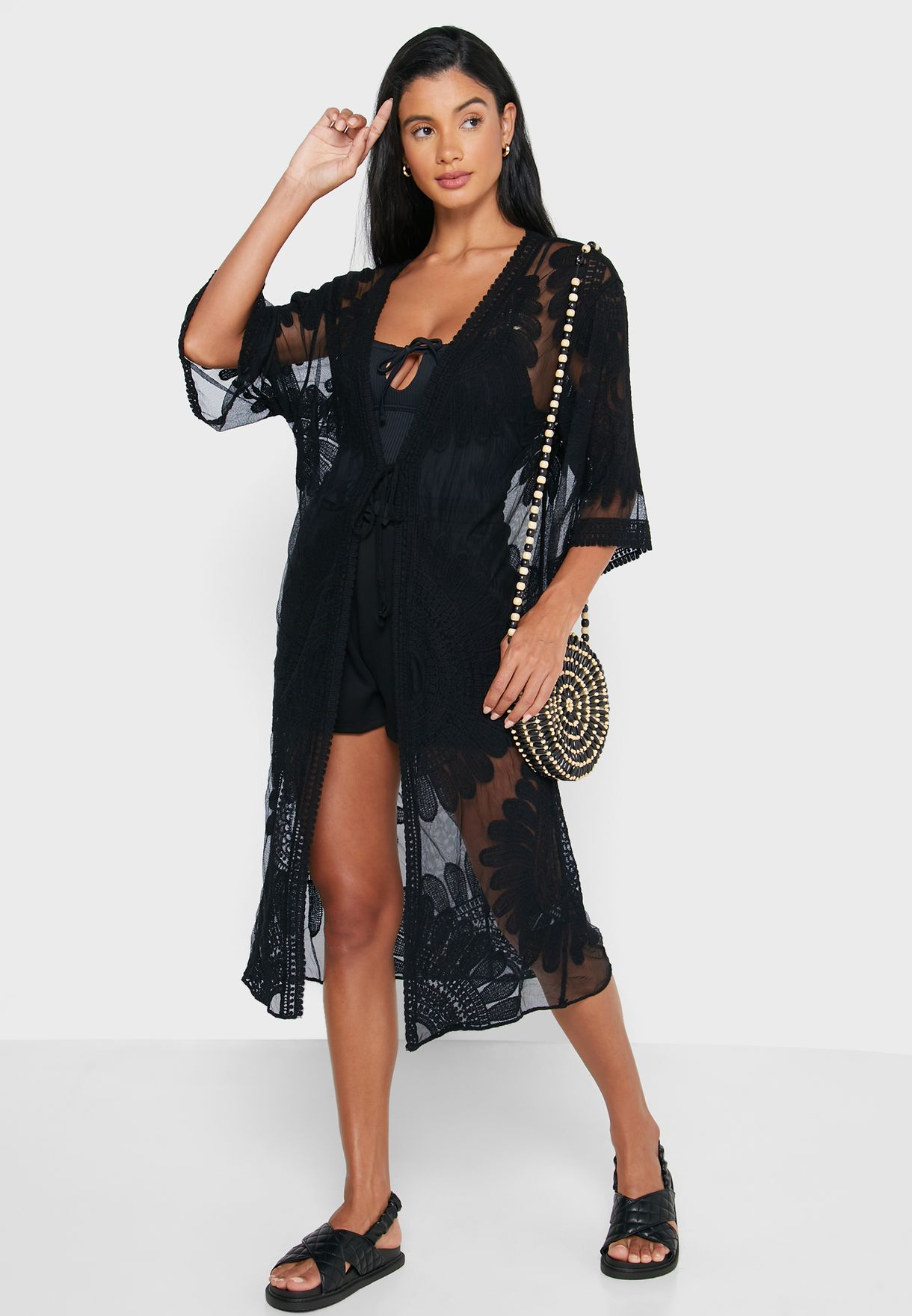 Mesh Embroidered Cover Up