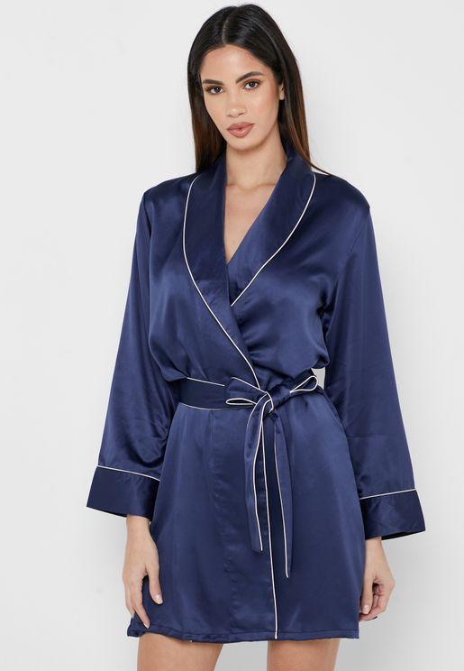 Satin Contrast Trim Robe