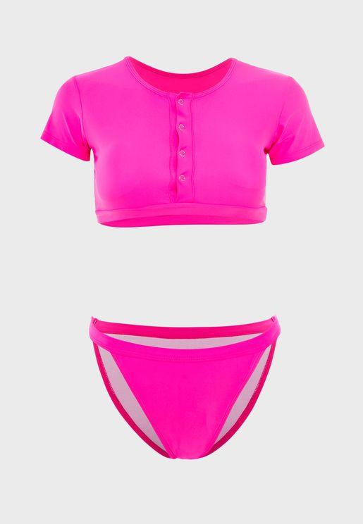 Kim Cap Sleeve Plunge Bikini Set