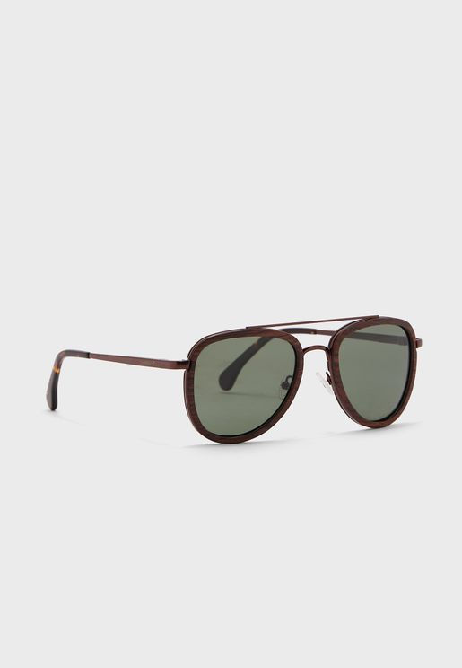 Wooden Oversized Sunglasses